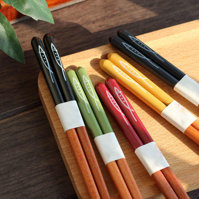 5 Pair Korean Style Palillos 5 Color Handmade Gift Pack Japanese Chopstick Natural Beech Wood Reusable Chinese Set