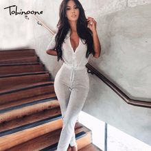 Tobinoone Autumn New V-neck Sequin Sexy Rompers Womens Jumpsuit Lace Up  Bodycon Bodysuit Evening Party Jumpsuits For Women 2018 4490944e9350