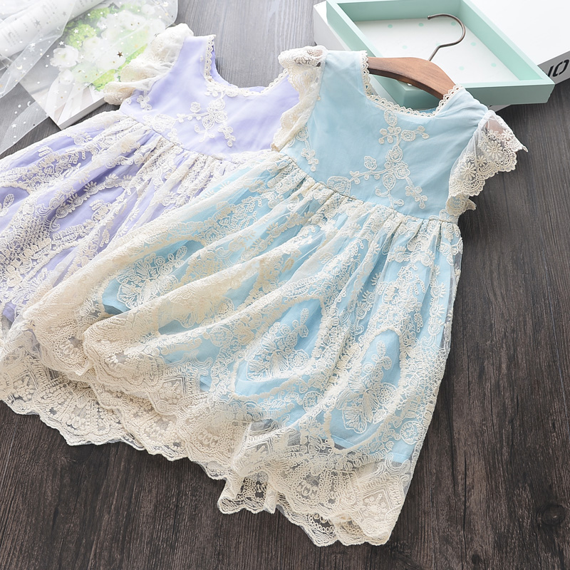 Toddler Girl Lace Dress Sleeveless Kids Embroidery Summer Dress Wholesale Kids Clothes Bulk By Lot Little Girl Party Dress