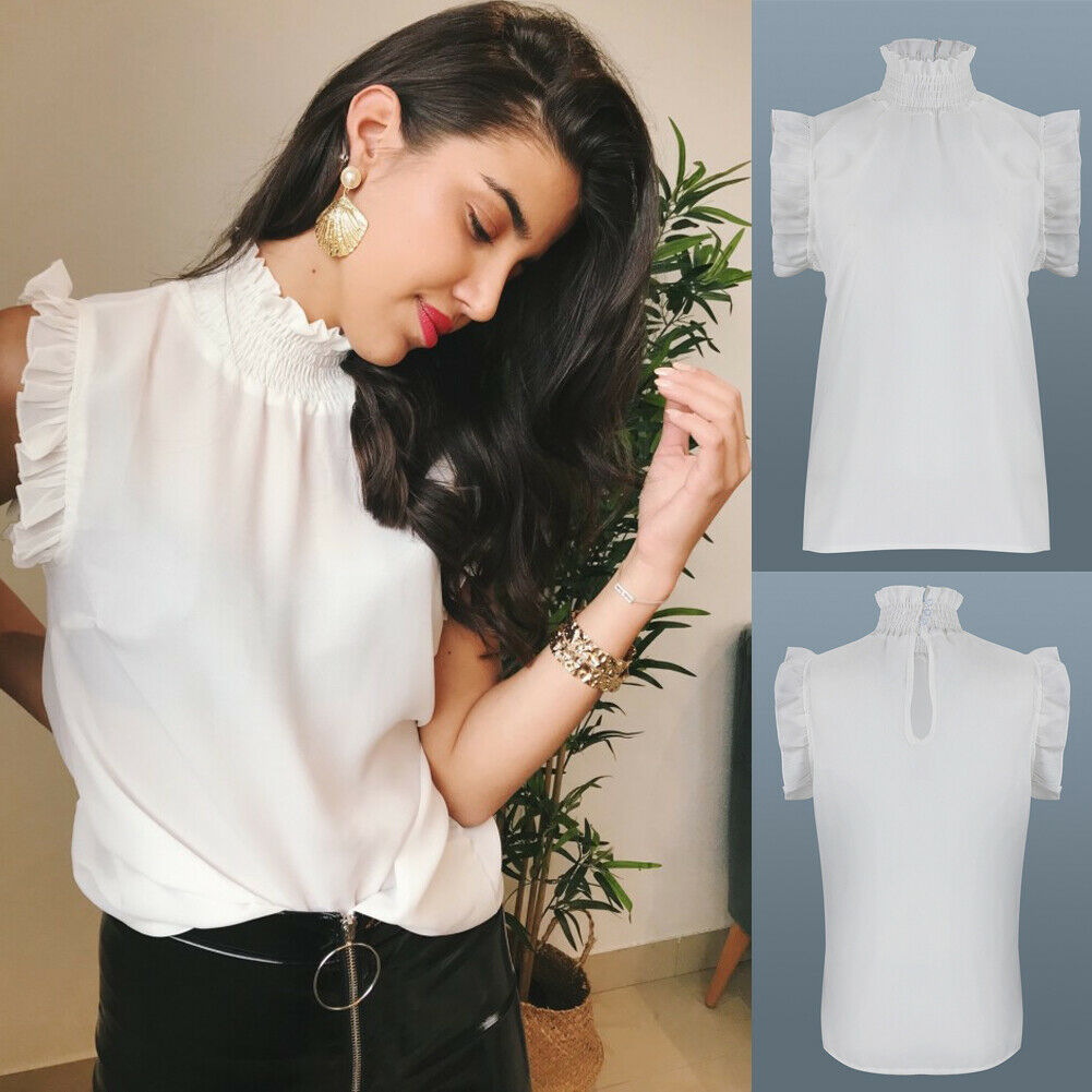 New Womens Cold Shoulder Loose Shirts Casual Summer Tops Blouse Clothing Ruffles Bating Sleeve Turtleneck Solid Soft Clothes(China)