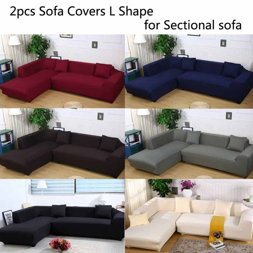 Fine 8Colors Sofa Covers L Shape 2Pcs 3 3Seat Slipcover Stretch Four Season Sofa Covers Furniture Protector Polyester Slipcovers Download Free Architecture Designs Rallybritishbridgeorg