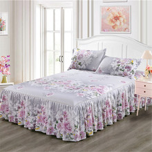 Single Layer Skirt Bedding Sets Non-slip Sheet Cover Bed Sheet Room Decoration Flower Printing Bedspread Pillowcase 3pcs38(China)
