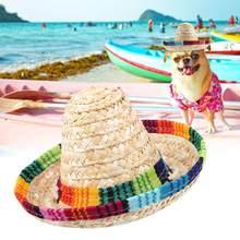 Hermosa paja Sombrero de fiesta para mascotas pequeñas perro gato con  cuerda de algodón ajuste accesorios para mascotas suminist. 633073e7fea