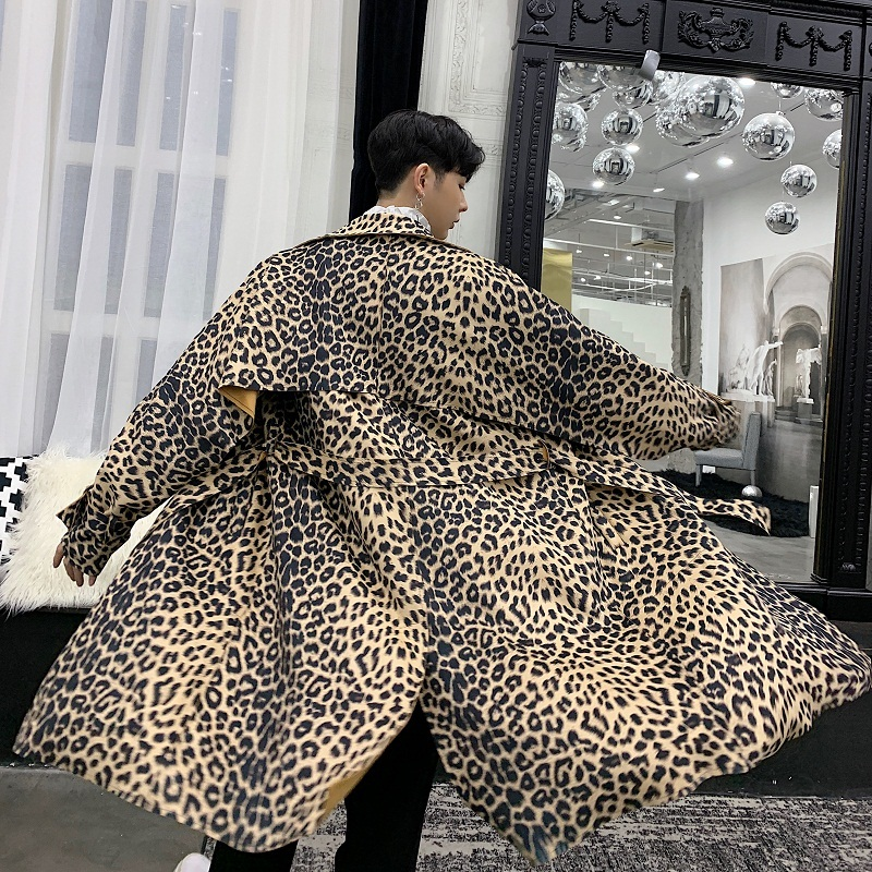 2018 Coat Men High-end Leopard Print Long Ribbon Male Gabardina Hombre Windbreaker Kaban Erkek Trench Coat Men Abrigo Hombre