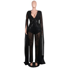 Plus Size Womens CloakS Sequined Clubwear Party Casual Skinny Charms  Apricot Black Red Jumpsuit Bodycon Sequin 399c68e23cb0