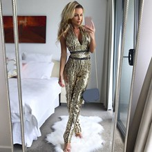 Buy Sexy Women Halter Deep V Neck Sequin Jumpsuit Spaghetti Straps Backless Jumpsuit Sequined Sleeveless Slim Overalls