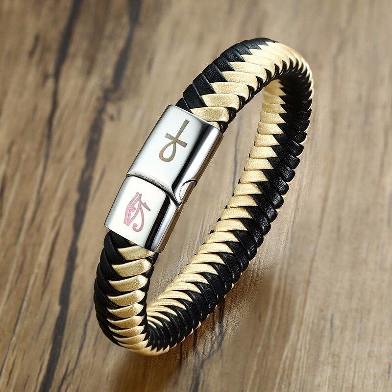 4mm Mens echtes Leder geflochtenes Armband Edelstahl Verschluss Hot Ts