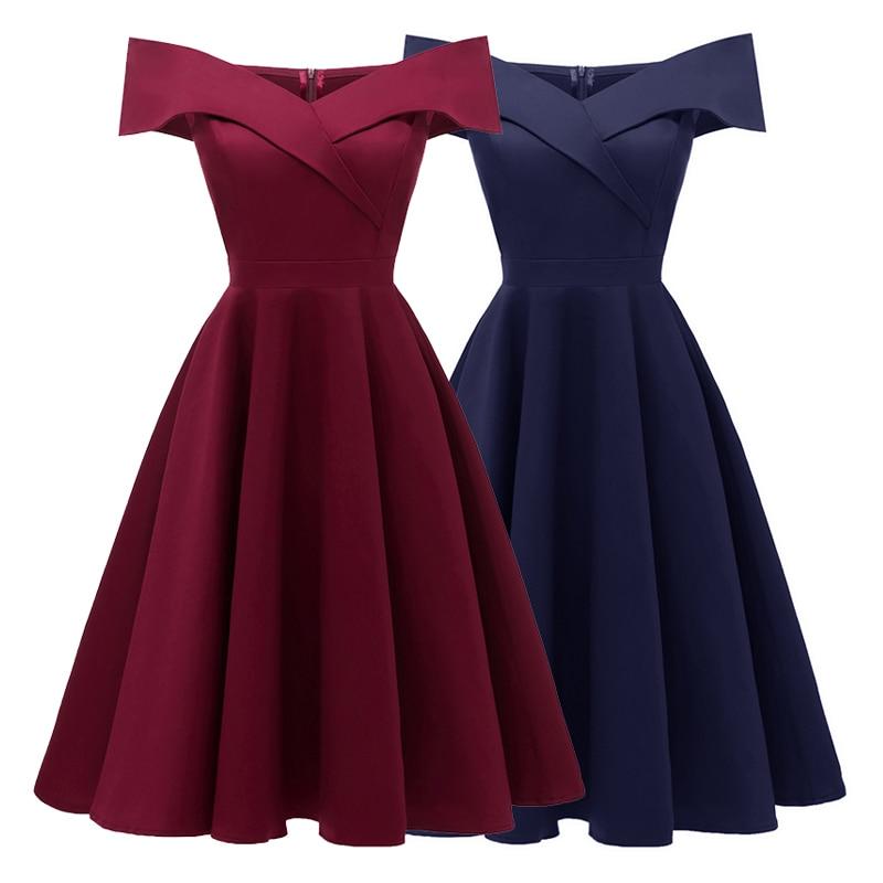 Women/'s Retro Dress V Neck Short Sleeve Solid Color 1950s Vintage Midi Dress