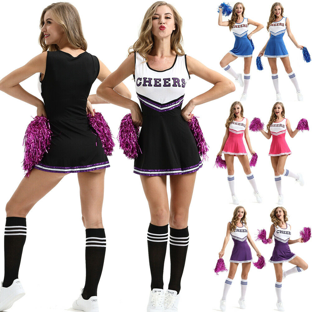 Ladies Cheerleader Costume School Girl Outfits Fancy Dress Cheer Leader Uniform title=