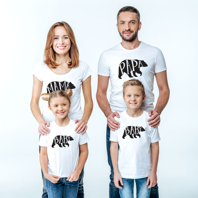 Family Matching Outfits Mother Daughter Women Girls Sister Top T-Shirt Clothes