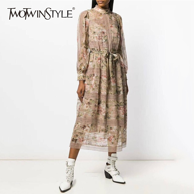 TWOTWINSTYLE 2019 Spring Print Dress Female Stand Collar Lantern Sleeve High Waist Lace Up With Strap Dresses Women Fashion
