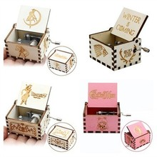 Stock Wholesale Antique Carved Music Box Wood Hand Crank Birthday gifts Sailor Moon Star War Theme Music Caixa De Musica