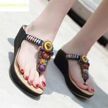 54799ace92c New Wedding Party Slippers Women Rhinestones Wedge Platform High Heel Thong Gladiator  Sandals Summer Punk Pumps Shoes