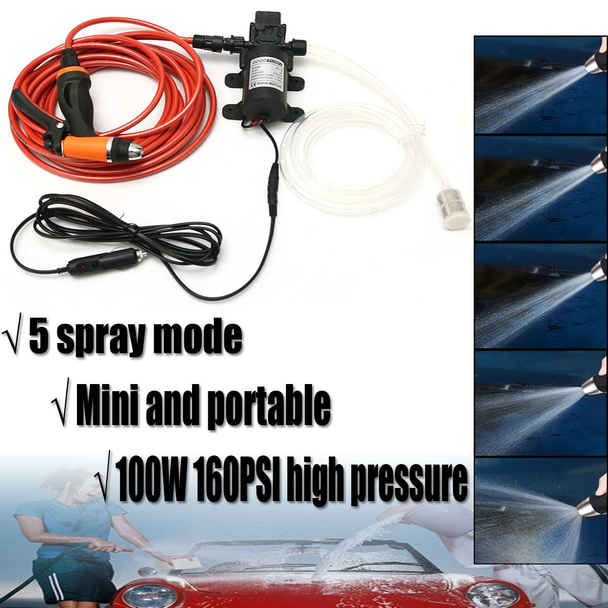 Wash-Washer Water-Pump Washing Electric-Car Portable High-Pressure 100W 12V 6pcs/Set title=