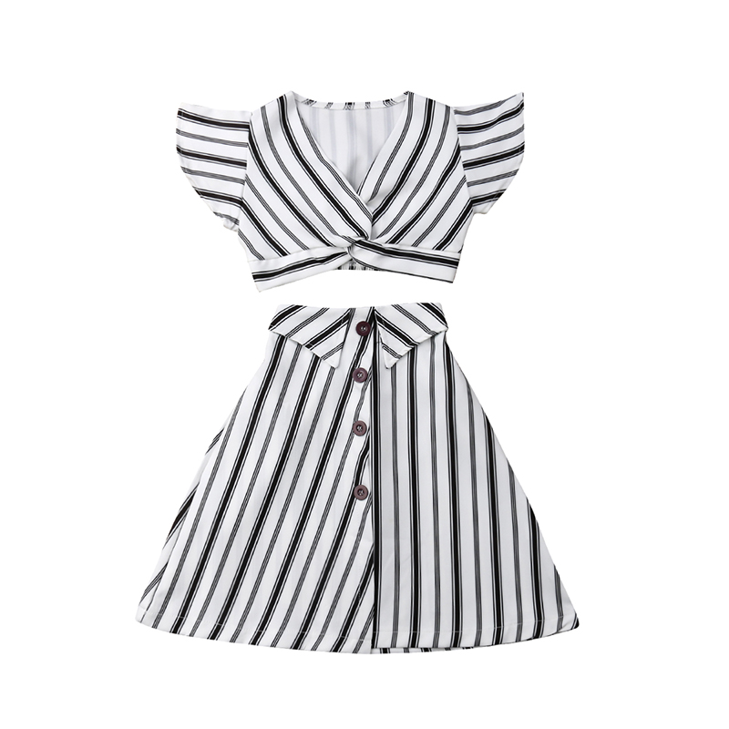 A-lined Skirt Outfit Sets Summer Striped Kids Baby Girls Party Dress Crop Tops