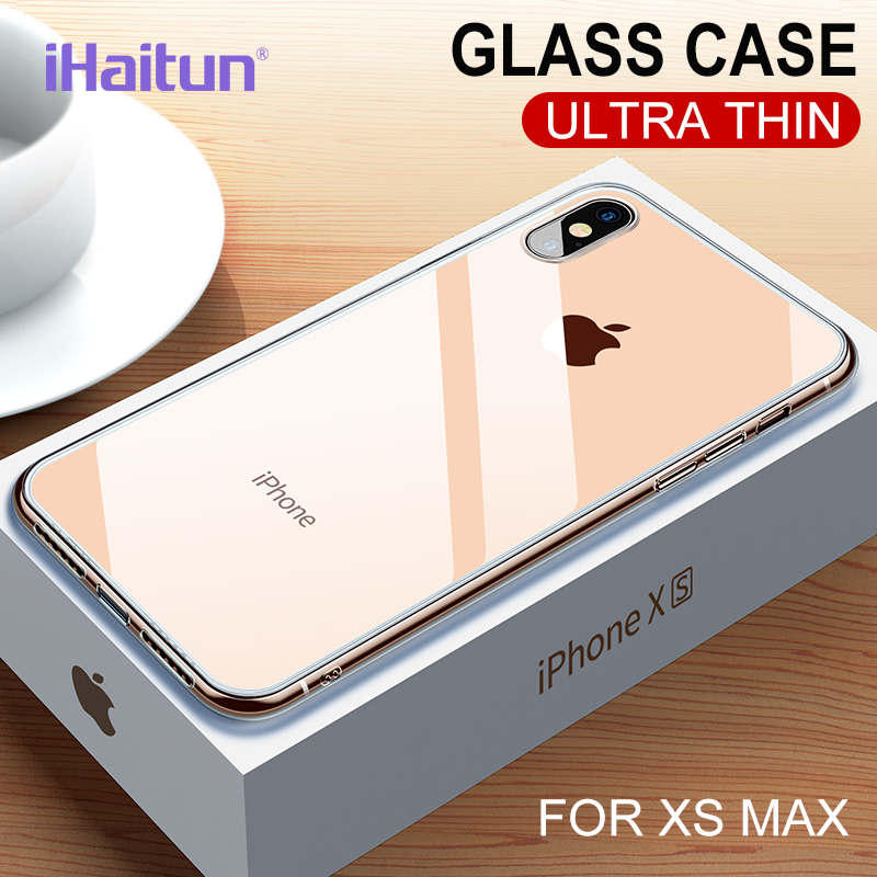 iHaitun Luxury Glass Case For iPhone XS MAX XR X Cases Ultra Thin Transparent Back Glass Cover For iPhone XS MAX 7 8 X Soft Edge(China)