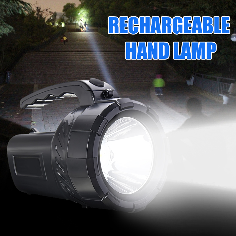 Rechargeable LED Work Torch Light Candle Power Spotlight Hand-Held Lamp Black