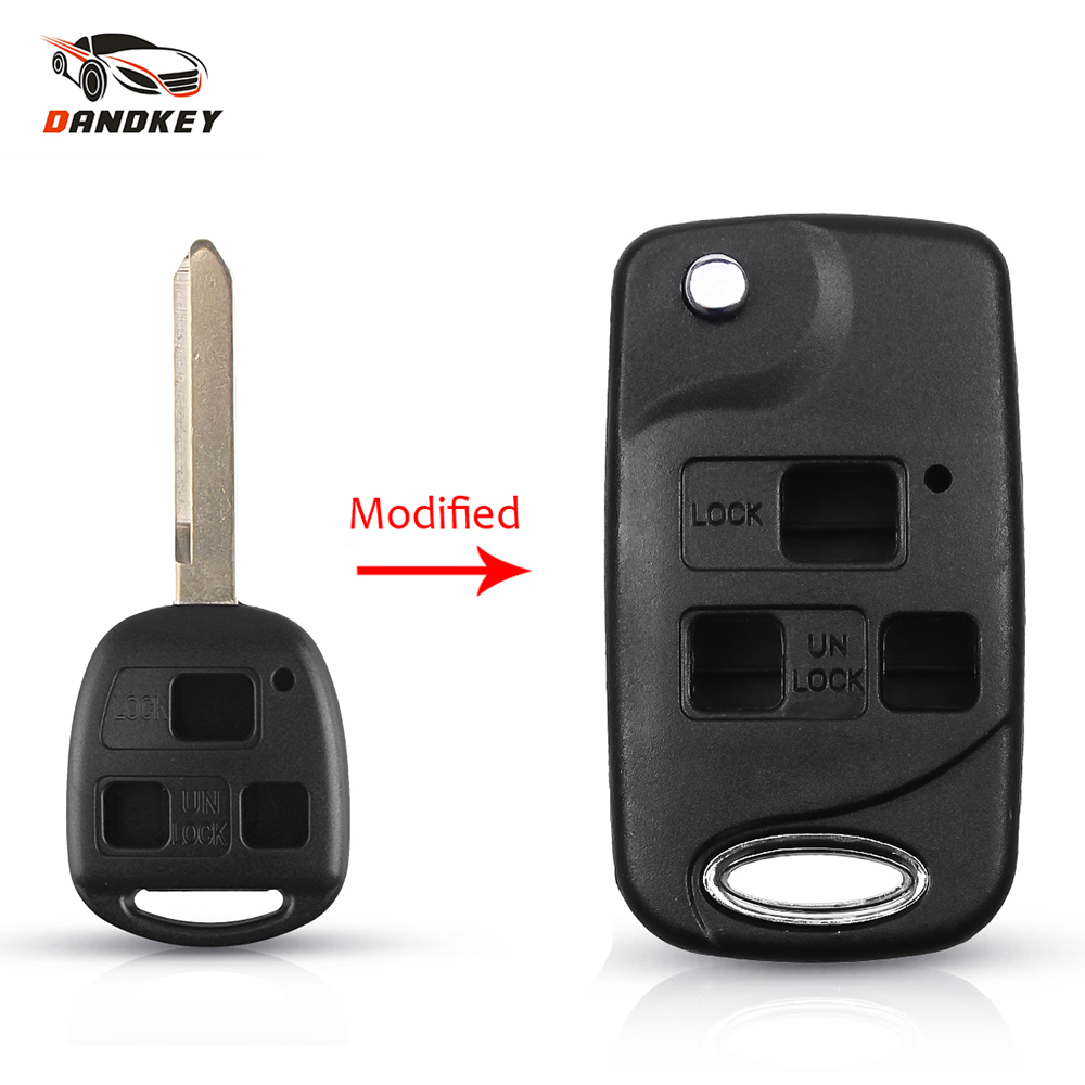 Dandkey Remote Car Shell Folding Flip Key Case Fob 3 Buttons For Toyota Celica Avensis RAV4 Prado Camry TOY47 Replacement(China)
