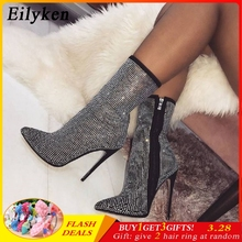Eilyken Women Ankle Boots Plus Size 35-42 스톤은 (High) 저 (힐 Shoes Woman Zip 첨 Toe Sexy Motorcycle Boots 대 한 여성에(China)