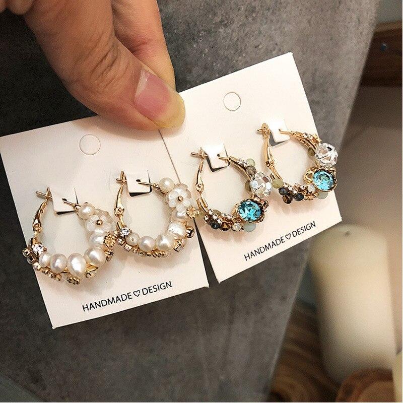 Korean round pink crystal womens white gold filled big elegant hoop earrings