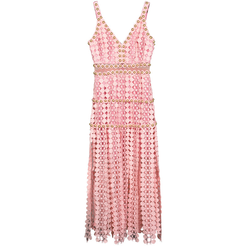 Summer Designer Sexy Resort Dress Women's High Quality Pink Embroidery Hollow Out Beading Midi Strap Dress Sundresses Vestidos