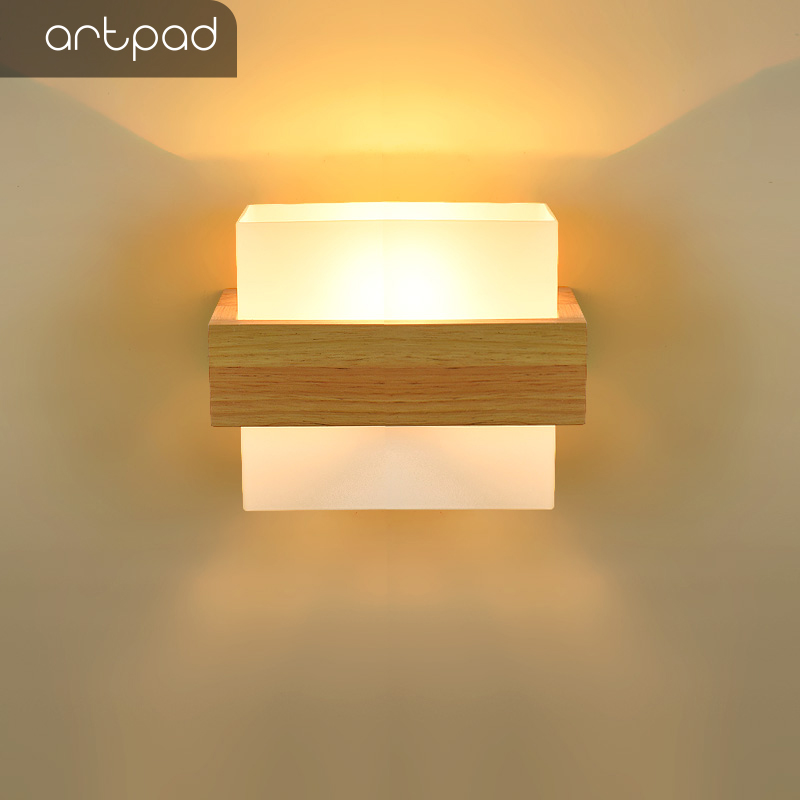 Wooden LED Wall Sconce  Bedside Wall Light Natural Solid Wood+Amber Glass Lamp