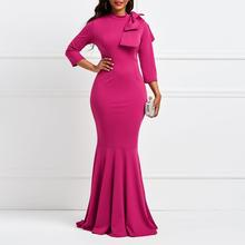 Elegant Women Maxi Dress 2019 Spring Summer Female Dinner Evening Floor  Length Dresses Mermaid Office Lady African Dresses a8576ad1e5ca