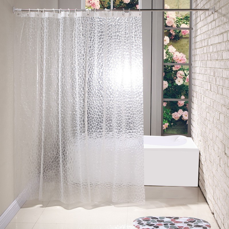 3d Shower Curtains Home Bathroom Water Cube Peva Shower Curtain Clear Thicker Sanitary Ware Suite Cortina Rideau De Douche Aa Home Improvement