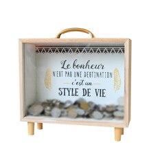 1pc Piggy Bank Nordic Style Wooden Handle Money Box Sundries Box Storage Box Saving Pot for Kids Girls Boys(China)