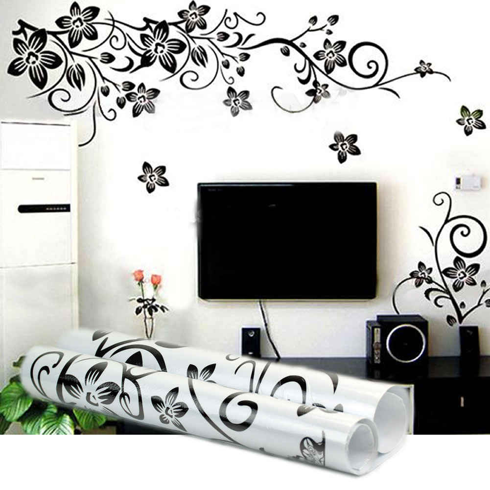 Black Vine Flower Wall Stickers Removable Home Decorations DIY Home Mural Decals