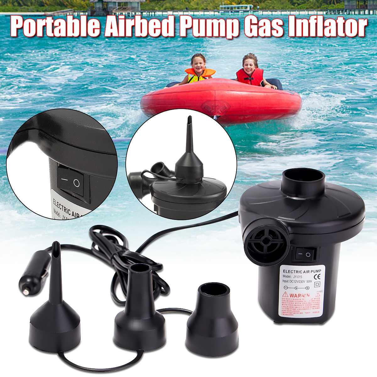 2 in 1 Electric Air Pump Inflator Pool Camping Bed Mattress Boat 12V 240V Car UK