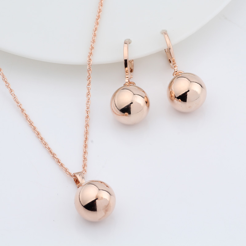 Irina Earrings-Set Rose-Gold 585 Wedding Party Women Spherical-Ball-Geometric Dangle title=