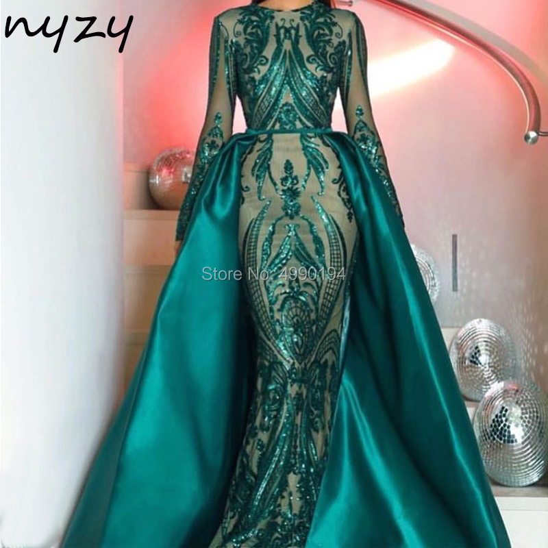 NYZY MW5 Arabic Evening Dress Long Sleeves 2 Piece Detachable Green Sequin Gown Muslim Formal Dress Party Gown abiye elbisesi