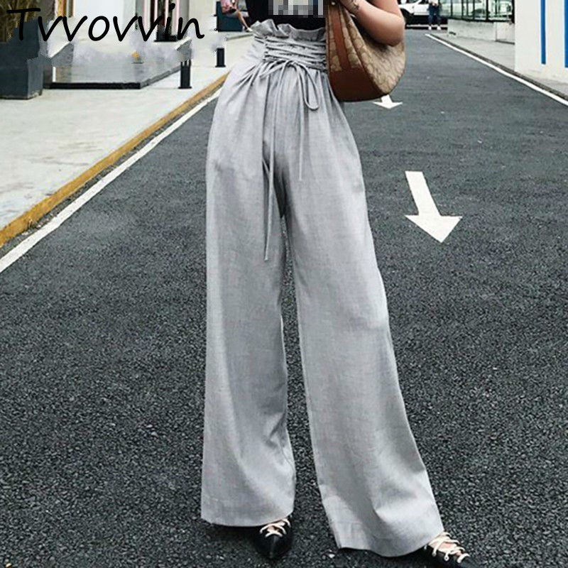 TVVOVVIN Tunic Wide Leg Female High Waist Lace Up Maxi Trousers Large Size 2019 Summer Women Pants  Q688
