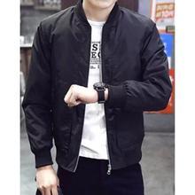 Men Casual Solid Stand Black Zipper Jacket Windproof Baseball Street Jacket Sports Pilot Coat(China)