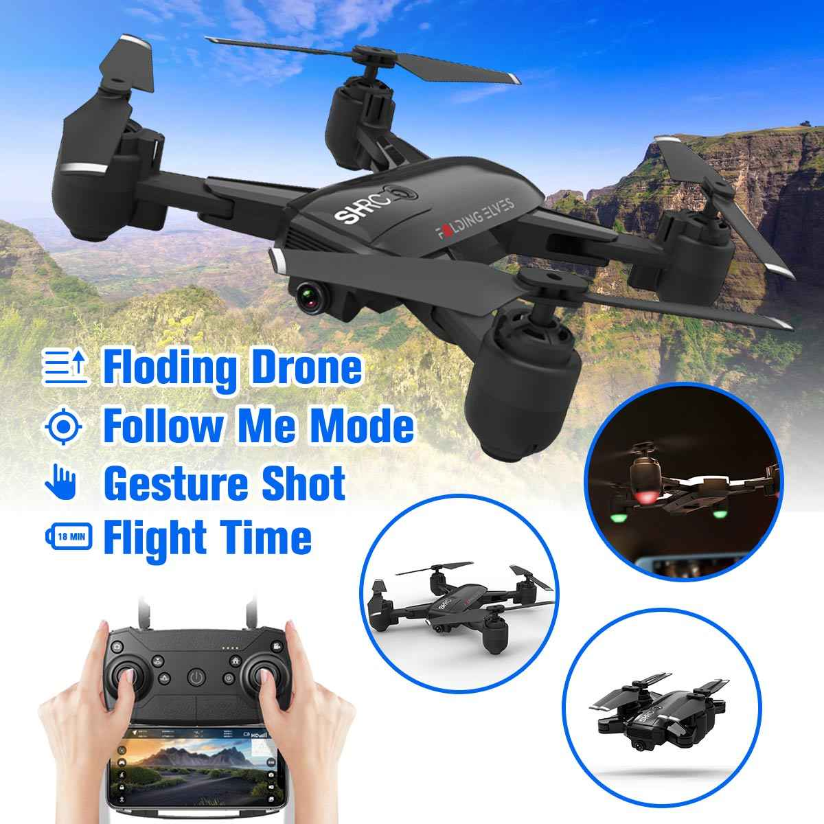 Drone X Pro 2.4g Selfi Wifi Fpv 1080p Camera Foldable Rc Quadcopter 4*batteries Cameras & Photo Toys & Hobbies