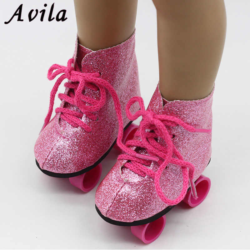 New Style Pink Doll Handmade Skate Shoes Fit 43cm Baby Born Doll Clothes 18  Inch American 8127506f94d0