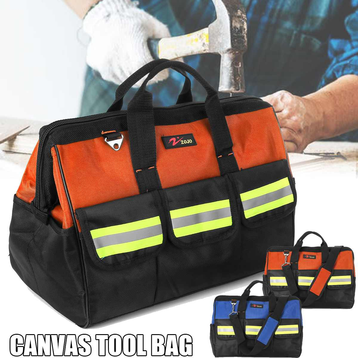 Tool Organizers Hearty Hand Organizer Drill Storage Tool Bag Screws Nails Parts Pouch Bit Hardware Canvas Electrician
