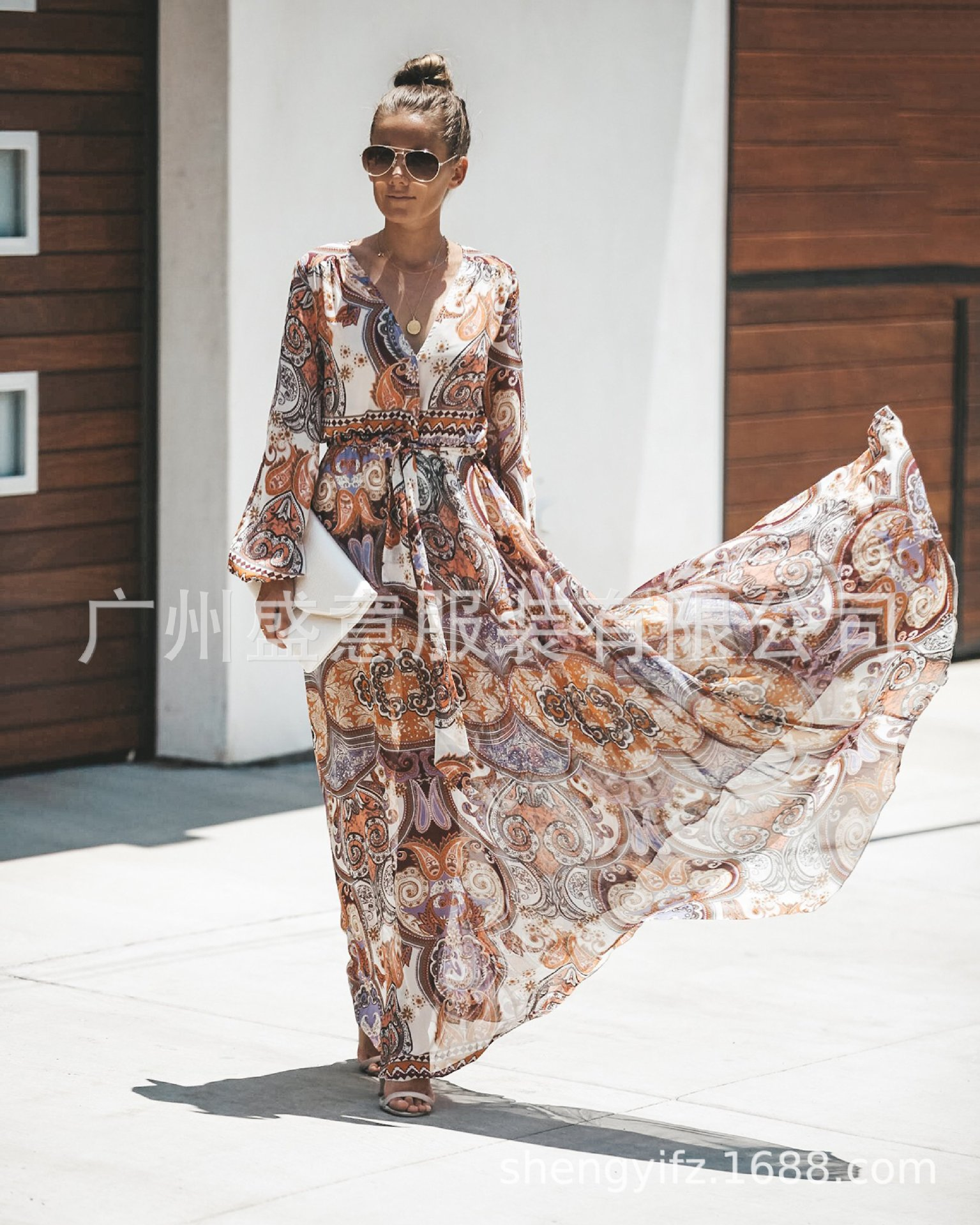Fashion Printed  Bohemian Maxi Dresses for Women  V Neck  Long Sleeve Summer Beach Dresses Sashes A-Line Vestidos