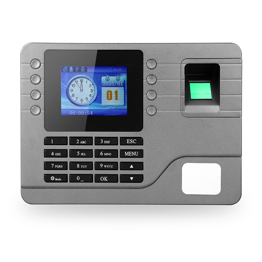 Biometric Fingerprint Password Attendance Machine Employee Checking-in Recorder 2.8 inch LCD Screen DC 9V Time Attendance Clock