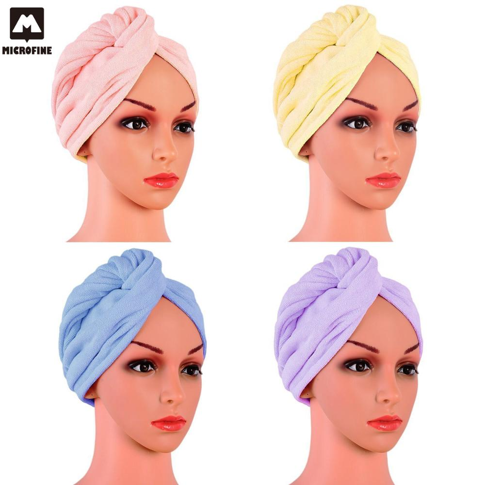Rapid Drying Hair Towel Solid Color Soft Super Absorbent Button Dry Hair Towel