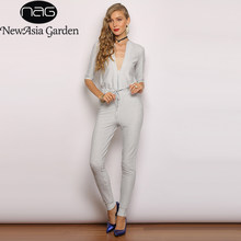 27ab3fb85de1 NewAsia Deep V-neck Sexy Jumpsuits For Women 2019 Glitter Silver Front  Zipper Casual Overalls Long Pants Rompers Womens Jumpsuit