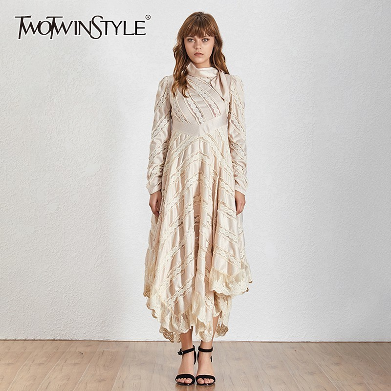 TWOTWINSTYLE Irregular Embroidery Patchwork Women Dress Bow Collar Puff Sleeve High Waist Slim Long Dresses Female Fashion 2019