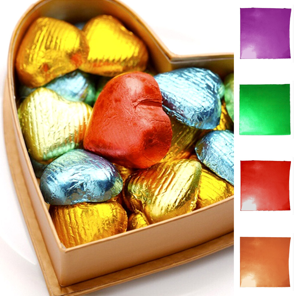 100pcs Square Foil Wrappers For Candy Chocolate Sweets Confectionary 8x8