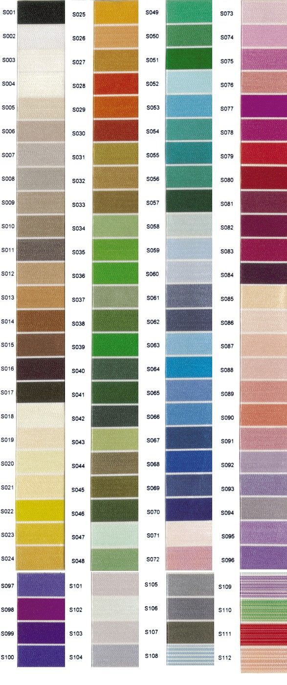 Simthread polyester Color charts