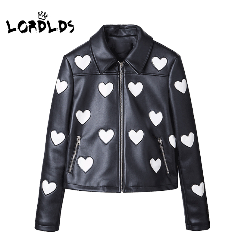LORDLDS Black Leather Jacket women 2018 New Fashion Heart Soft PU Ladies Short Cropped Jackets Zipper Coat Slim Outwear