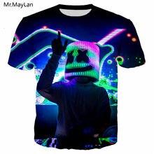 d483f7071 Nuevo diseño 3D impresión DJ Marshmello T camisa de los hombres mujeres  Rock Streetwear Tee