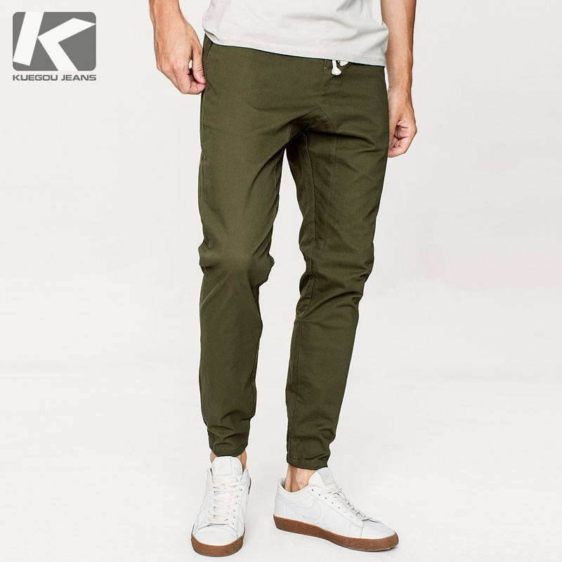 Autumn Men Casual Pants Cotton Solid Green Color Pocket For Man Fashion Slim Fit 2018 New Male Wear Long Straight Trousers 9706