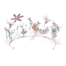 Fashion Tiara Handmade Flower Beads Hair Accessory Bridal Crown Bride  Jewelry Headwear for Party Birthday Banquet Wedding Decor cadb99963f8b