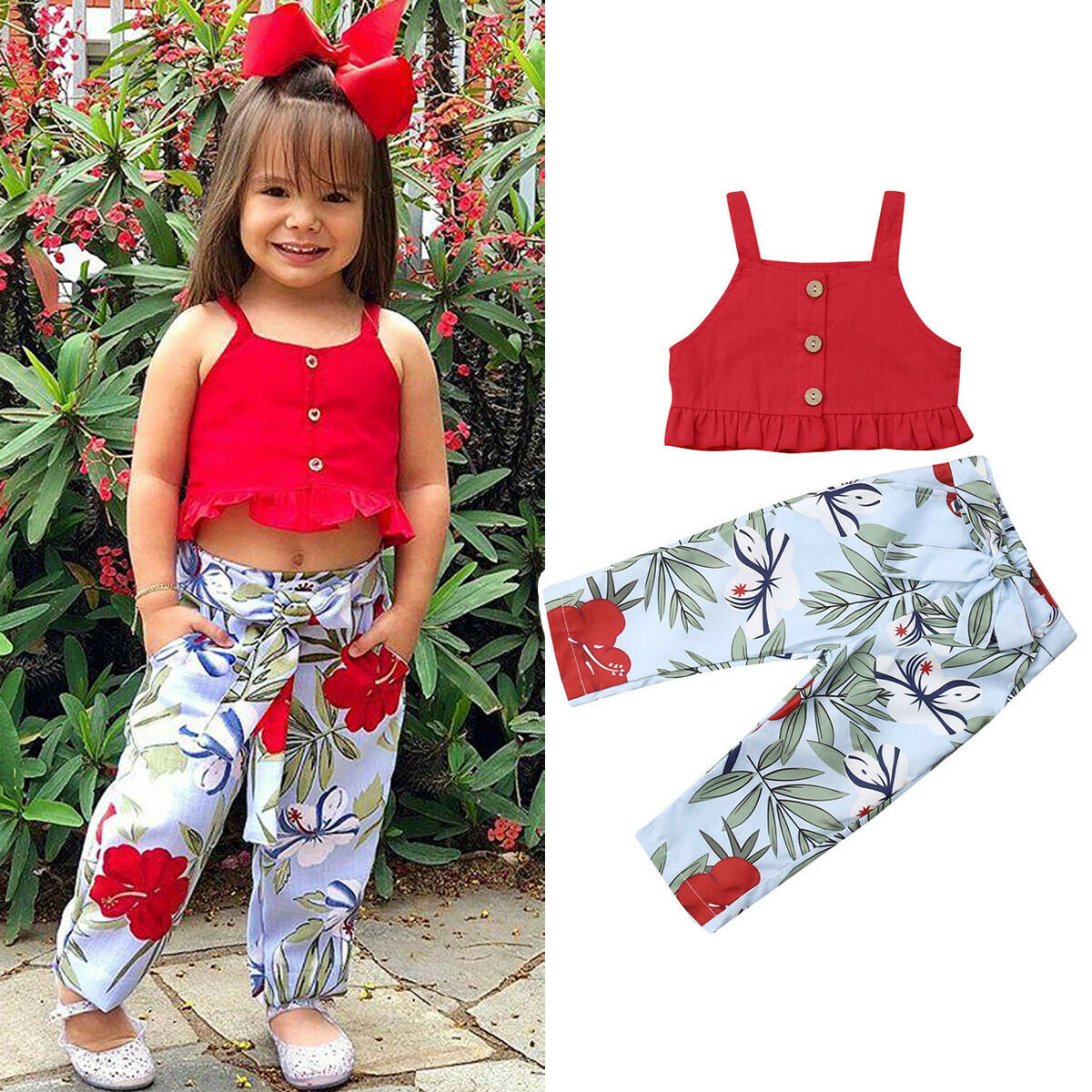 UK Kids Baby Girls Cotton Clothes Off-Shoulder Tops+Bell-Bottom Trousers Outfits